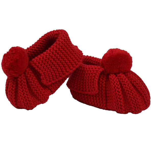 Korango Red Knit Pom Pom Booties - RedHill Childrenswear