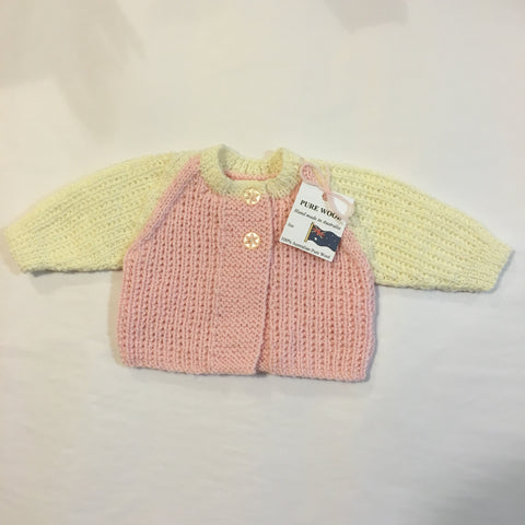 Handmade Pink and Cream Knitted Cardigan - RedHill Childrenswear