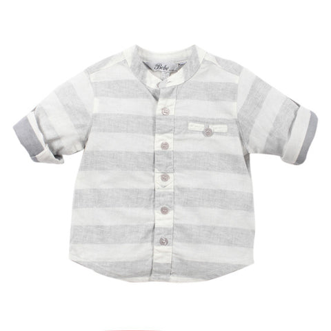 BEBE Declan Grey and Cloud Stripe Shirt - RedHill Childrenswear
