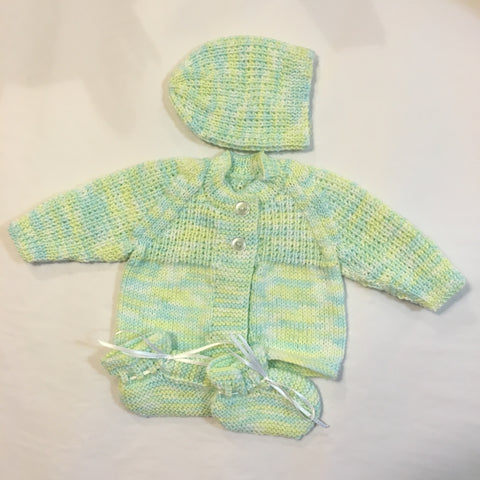 Handmade Varigated Green Cardigan Hat and Booties Knitted Set - RedHill Childrenswear
