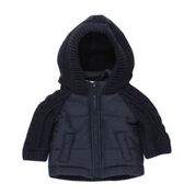 BEBE Navy Half Knit Hooded Jacket