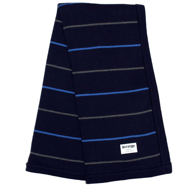 Korango Blue Stripe Knit Blanket - RedHill Childrenswear