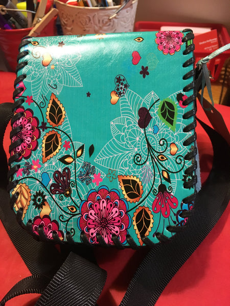 Hand Stitched Girls Teal Shoulder Bag