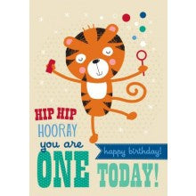 Little Red Owl One Tiger Birthday Card