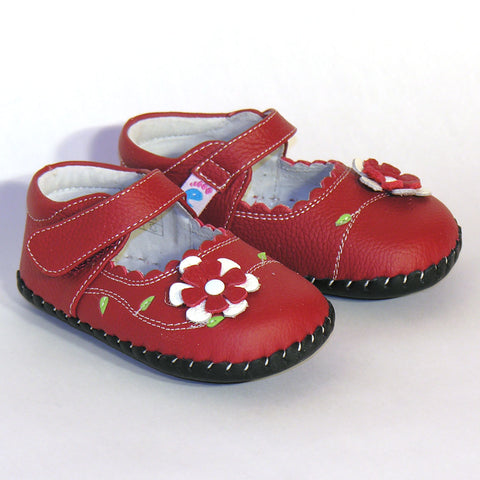 Freycoo Red Leather Flower Shoes - RedHill Childrenswear