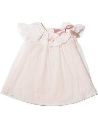 Bebe Peach Lace Dress with Collar - RedHill Childrenswear