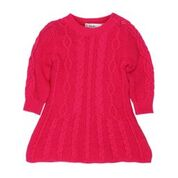 Bebe Indigo LS Cable Knit Hot Pink Dress Size 3-5yrs