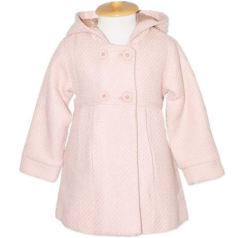 Candy Stripes Girls Pale Pink Hooded Coat Jacket - RedHill Childrenswear