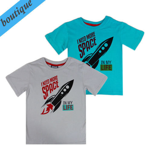 Urban Crusade Boys Space Rocket Blue tee - RedHill Childrenswear