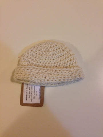 Handmade Crochet Cream Wool Beanie - RedHill Childrenswear
