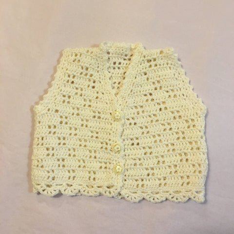 Handmade Crochet Cream Vest - RedHill Childrenswear