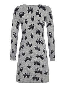 Yumi Girls Panda Knit Grey Dress - RedHill Childrenswear