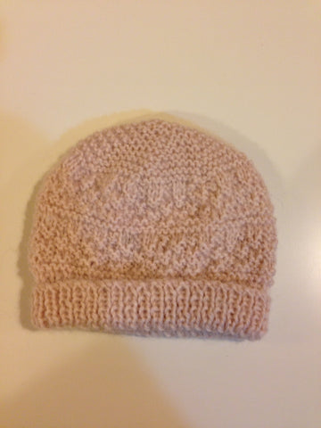 Handmade Pale Pink Wool Knit Beanie - RedHill Childrenswear