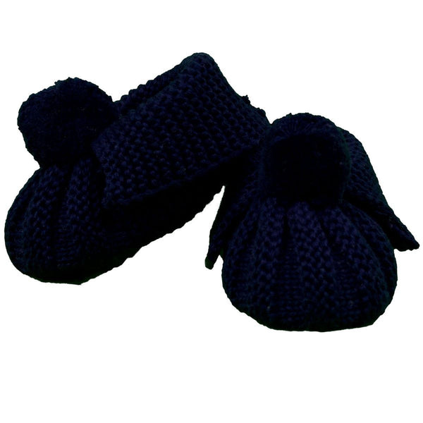 Korango Navy Knit Pom Pom Booties - RedHill Childrenswear
