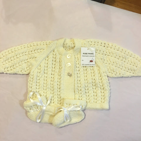 Handmade Cream Knitted Cardi and Bootie Set - RedHill Childrenswear