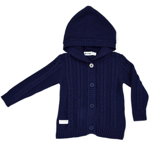 KORANGO Navy Pure Patterns Cable Knit Jacket - RedHill Childrenswear