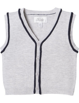 BEBE Logan Silver Knit Vest - RedHill Childrenswear