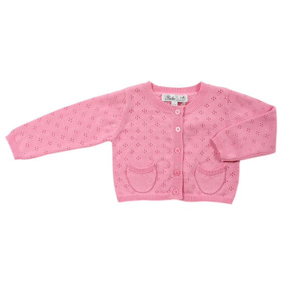 BEBE Rosie Pink Pointelle Knit Cardigan - RedHill Childrenswear