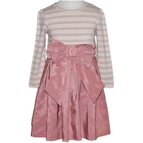 Girls Pink Stripe Bow Dress - RedHill Childrenswear