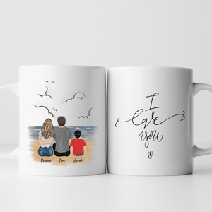Happy Family - Personalisierte Familien Tasse (1 Kind)