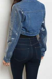 Blue Jean Cropped Sequin Jacket