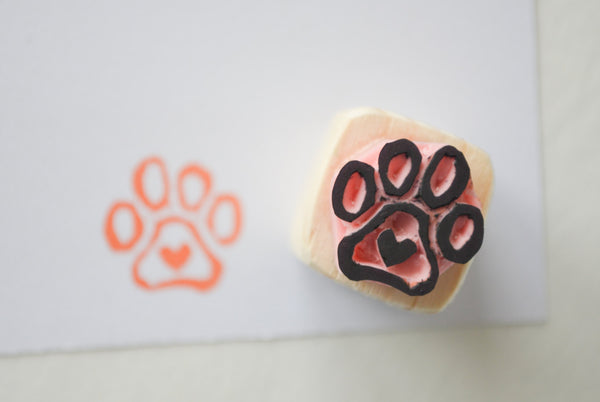 Tiny Heart in Paw Stamp