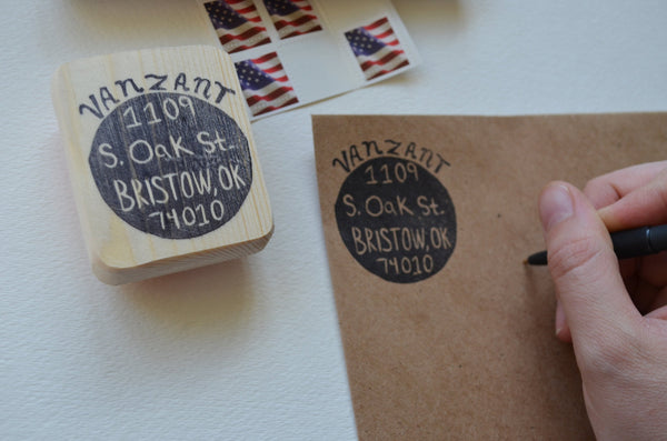 Circular Address Stamp- Hand Carved