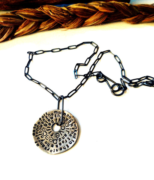 Poetry Disc Necklace: Moon & Stars
