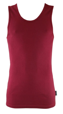 Mens Bamboo Singlet - Burnt Red