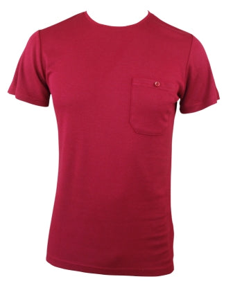 Mens Bamboo T-Shirt With Pocket - Burnt Red