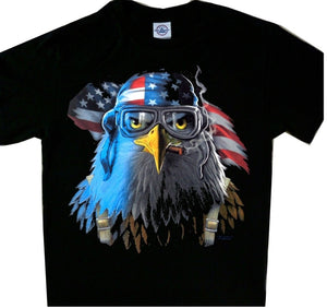 American Eagle Pilot with Flag Cool T'Shirt Tee Black Newest 2019 Men T-Shirt Fashion Summer Men's Clothing Brand T Shirt