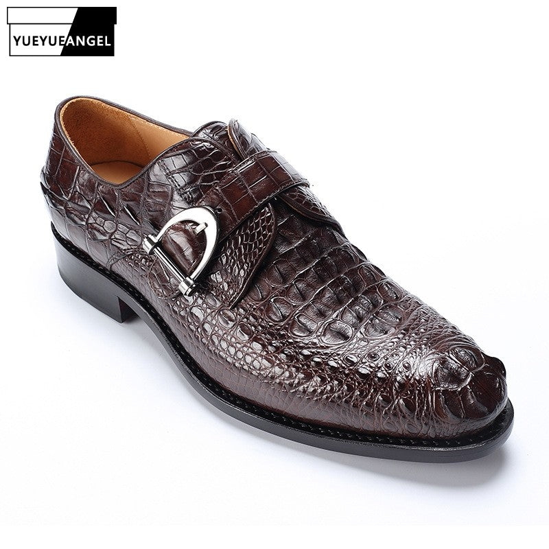 New Black Brown Business Work Genuine Crocodile Leather  Shoes Men Pointed Toe Dress Shoes Party Wedding Office Footwear