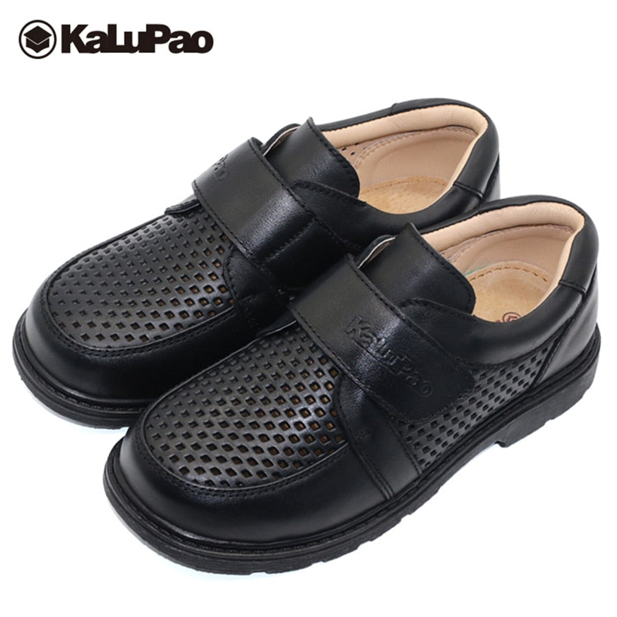 Shoes cow muscle sole kids boys summer hollow out breathable flat with casual leather shoes boys