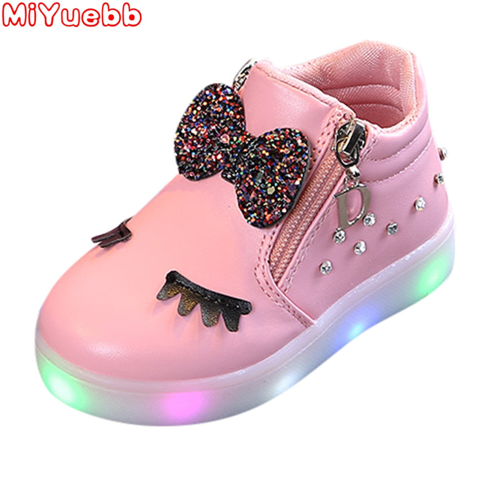 Kids Shoes For Girl 2020new Fashion Children Glowing Shoes Princess Bow Girls Led Shoes Spring Autumn Cute Baby Sneakers Shoes D