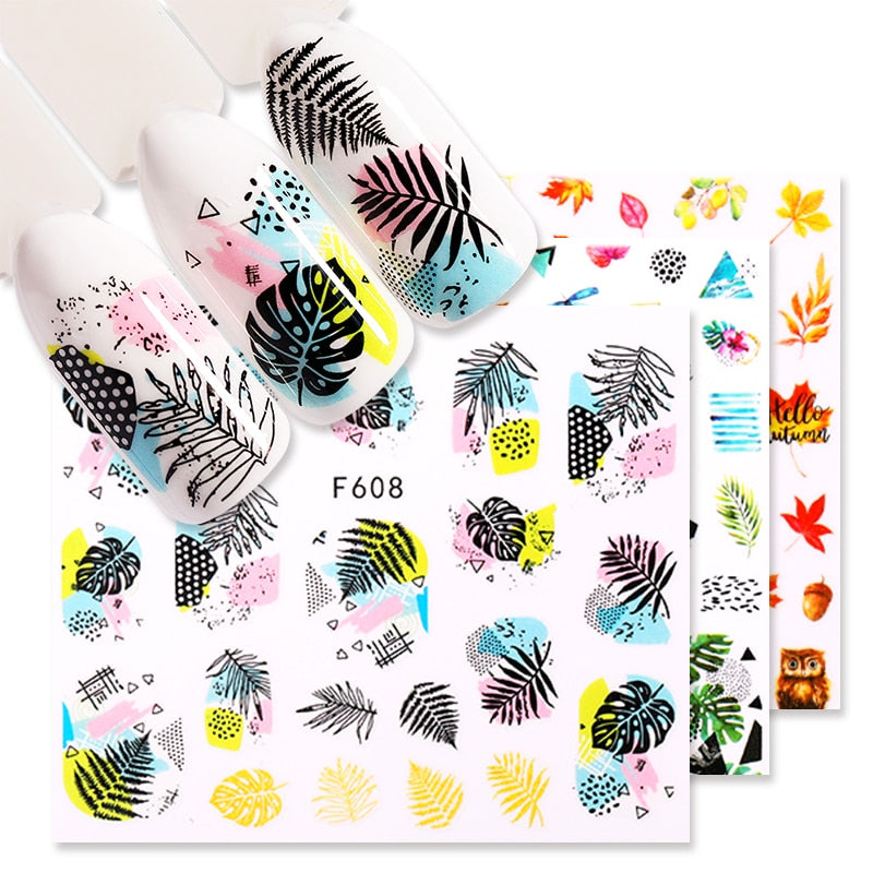 1 Sheet Nail Sticker Flower Leaves Slider Transfer Nail Stickers for Manicur Nail Art DIY Transfer Sticker Nail Art Decoration