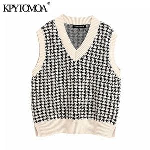 KPYTOMOA Women 2020 Fashion Oversized Knitted Vest Sweater V Neck Sleeveless Side Vents Loose Female Waistcoat Chic Tops