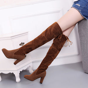 Faux Suede Slim Boots Sexy over the knee high women snow boots women's fashion winter thigh high boots shoes woman 025
