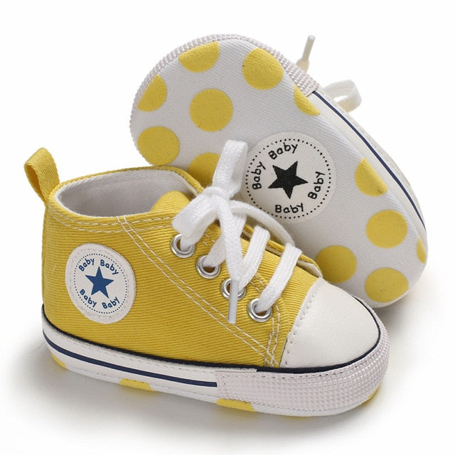 Baby Canvas Classic Sports Sneakers Newborn Baby Boys Girls Print Star First Walkers Shoes Infant Toddler Anti-slip Baby Shoes