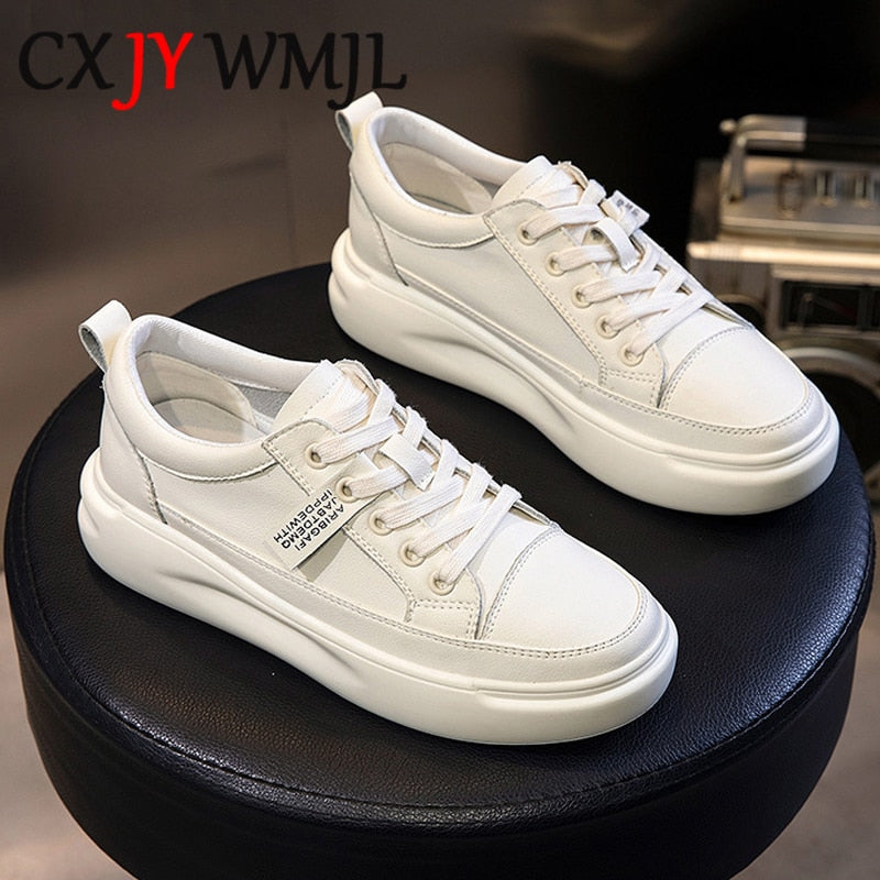 Genuine Leather Casual Shoes Women Sneakers Autumn Light White Sneaker Platform Med Heel Ladies Shoe Comfortable Vulcanized Shoe