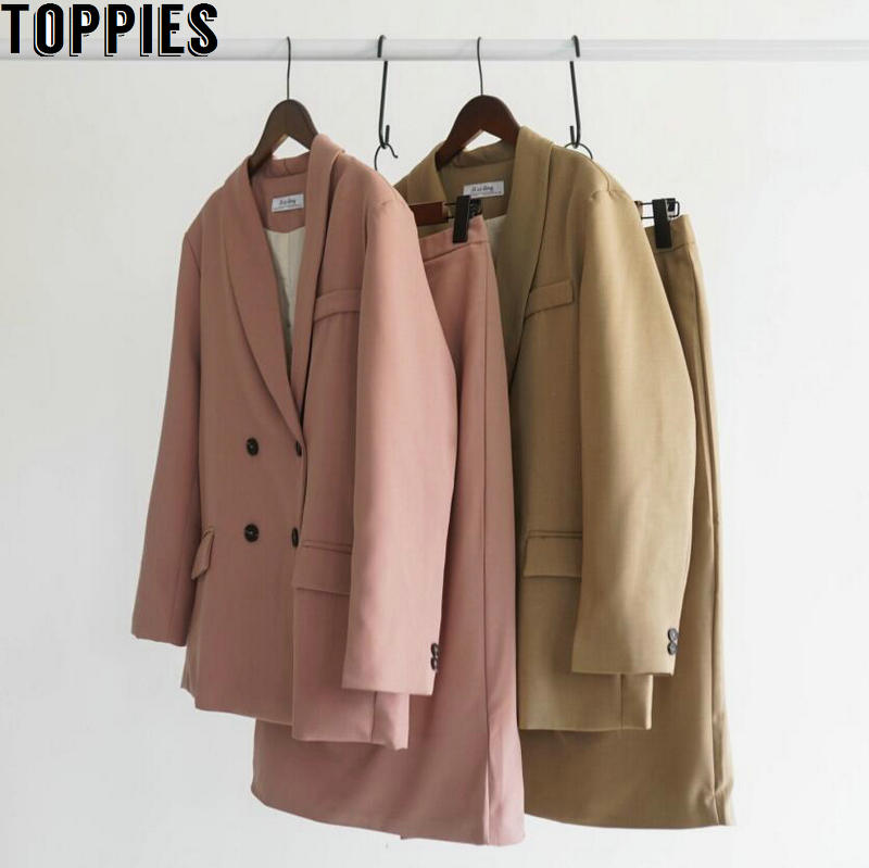 2020 Spring Women Blazer Suits Doule Breasted Pink Blazer High Waist Skirt Office Lady Sets