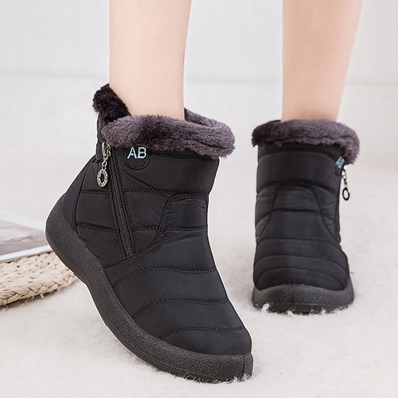 Snow Boots Plush Warm Ankle Boots For Women Winter Boots Waterproof Women Boots Female Winter Shoes Zip Booties