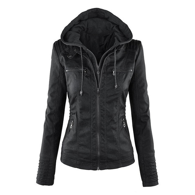 Gothic Faux Leather Jacket Women Hoodies Winter Autumn Motorcycle Jacket Black Outerwear faux leather PU Jacket 2020 Coat HOT