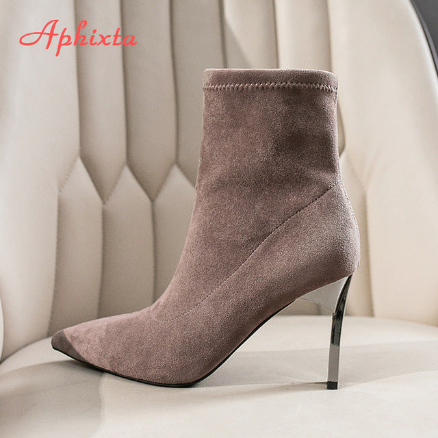 Metal Blade Heels Socks Boots Women Stretch Fabric Elastic Stilettos Heel Pointed Toe Ankle Boots Shoes Woman Boats