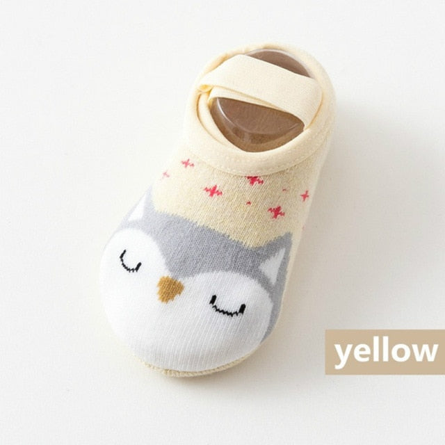 1 Pair Fashion Baby Girls Boys Cute Cartoon Non-slip Cotton Toddler Floor Socks Animal pattern First Walker Shoes for Newborns