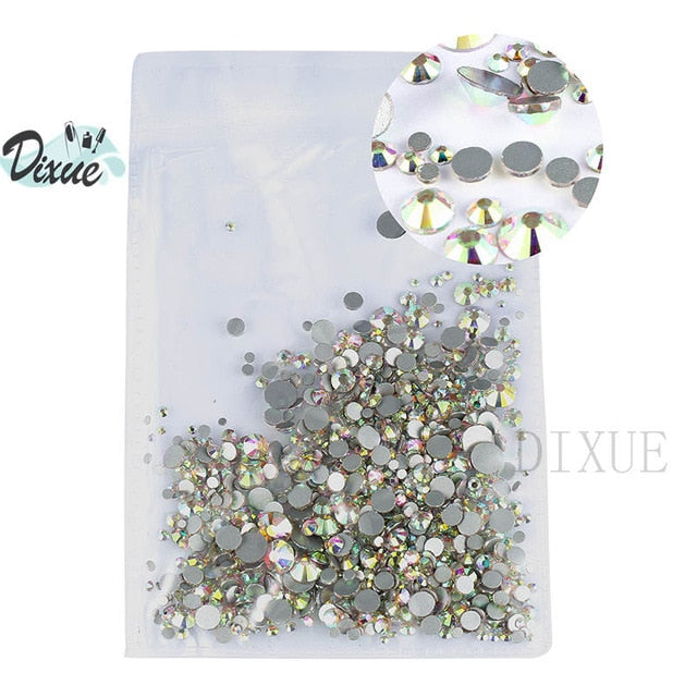 High light AAA rhinestone crystal AB clear SS3-SS40(1.3mm-8.4mm) Non Hotfix flatback Rhinestones for Nails 3D nail art  gems045