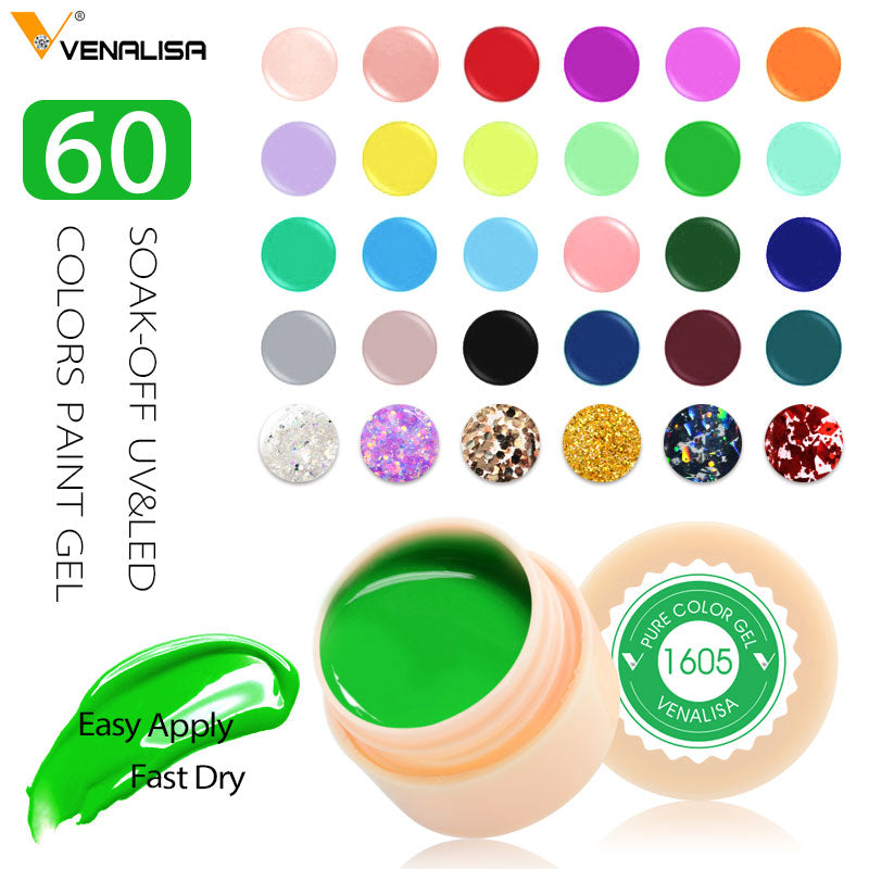 Venalisa UV Gel New 2020 Nail Art Tips Design Manicure 60 Color UV LED Soak Off DIY Paint Gel Ink UV Gel Nail Polishes Lacquer