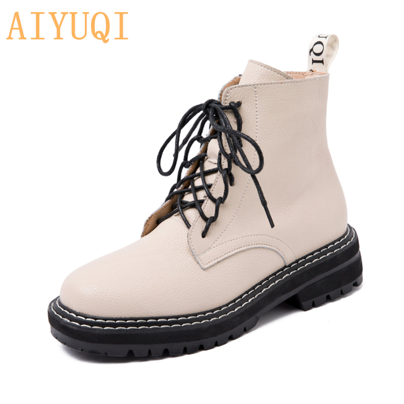 Martin Boots Female 2020 New Autumn British Wind Genuine Leather Thick With Short Boots Motorcycle Boots women shoes