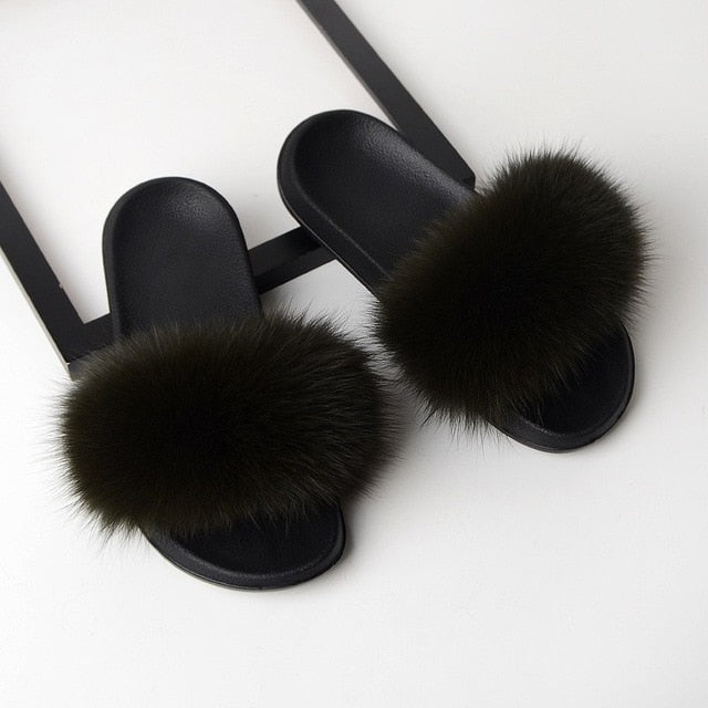 Fur Slippers Women Real Fox Fur Slides Home Furry Flat Sandals Female Cute Fluffy House Shoes Woman Brand Luxury 2020