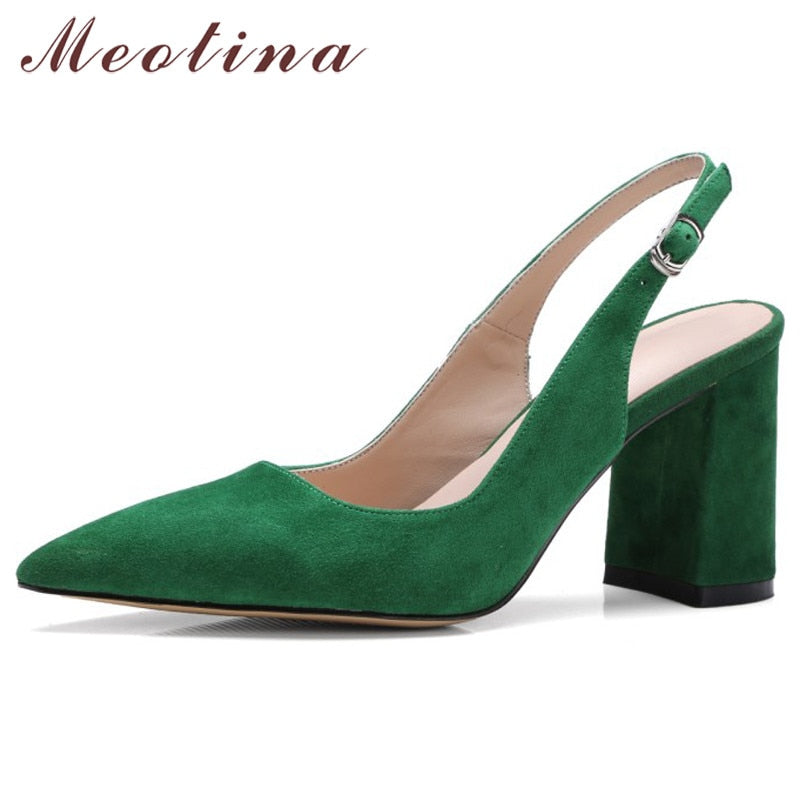 Meotina high heels for women, suede square high heels for boys, heels with real leather buckle, narrow toe shoes, size 34-42 for women