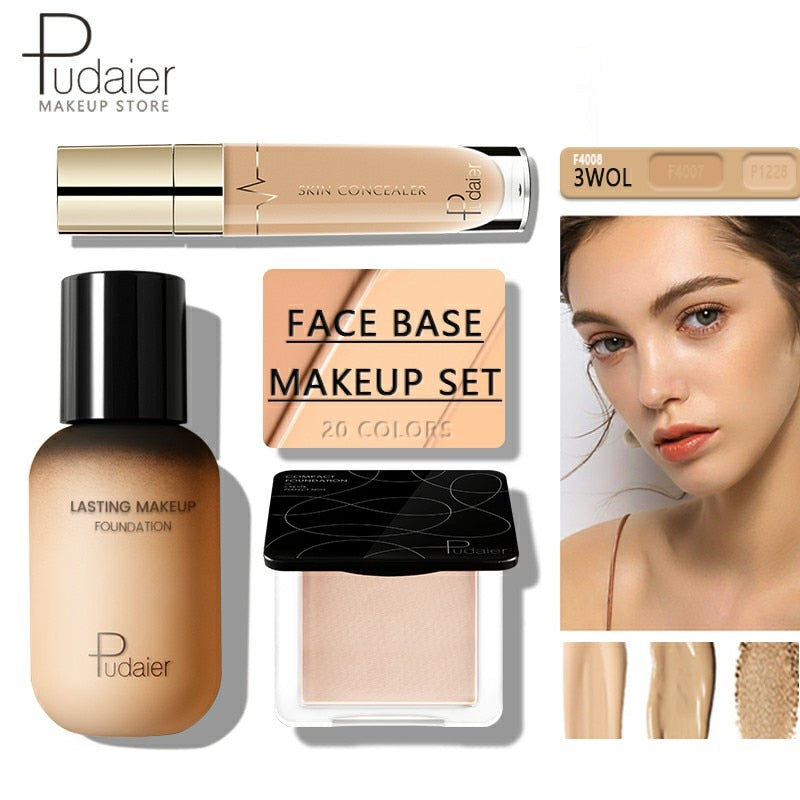 Face Foundation Makeup Set Liquid Foundation Cream Matte Foundation Base Face ALL Concealer Cosmetic Professional base